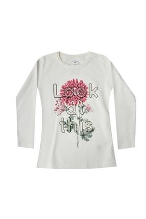Pattaya Kids Kız Çocuk Beyaz Çiçek Baskılı Selanik Body