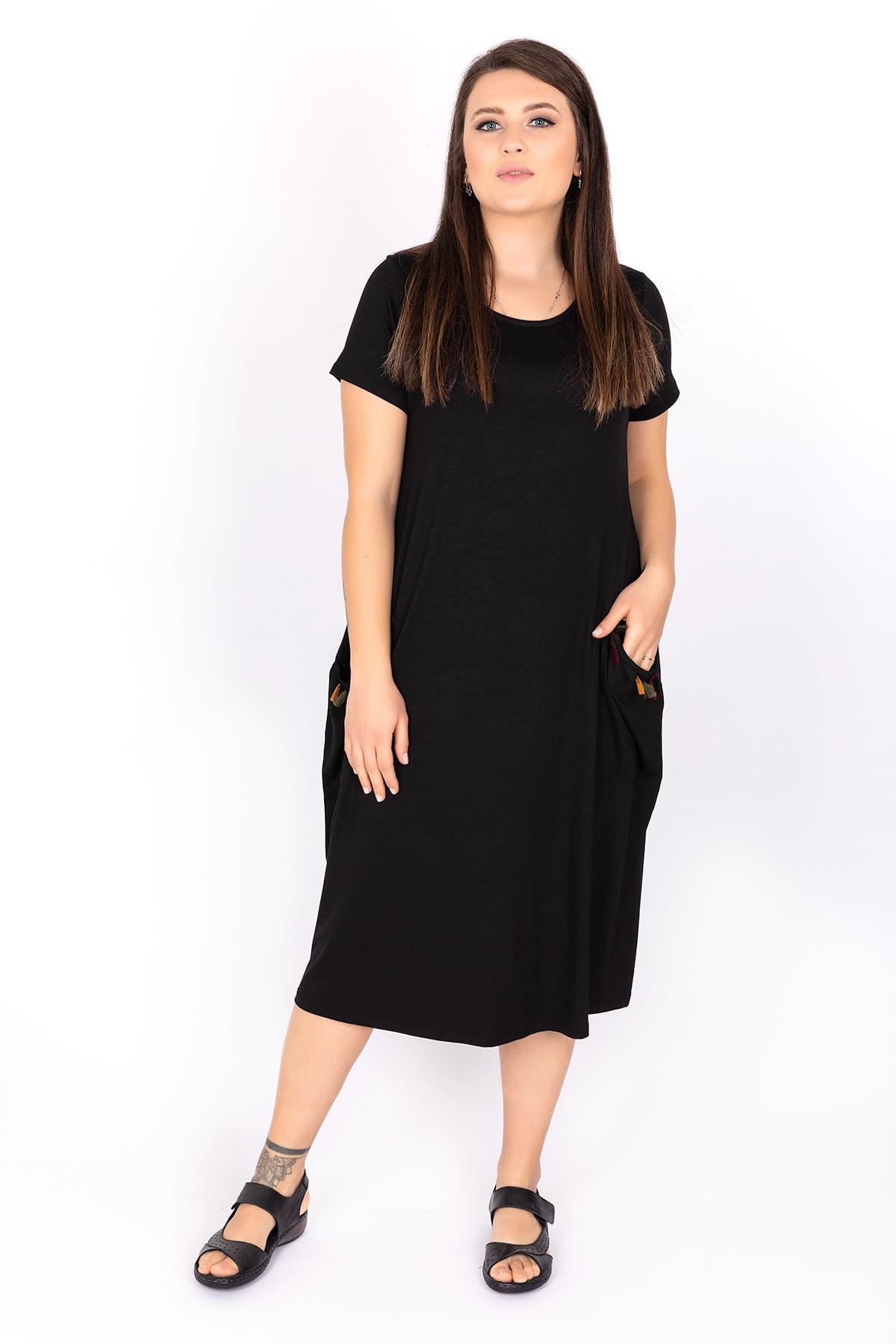 Kardelen Butik Ümraniye Kadın Siyah Kısa Kollu Viskon Penye Elbise 1
