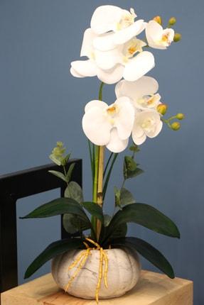 Yapay Çiçek Deposu Dekoratif 2li Mini Yapay Islak Orkide Tanzimi Beyaz 45 Cm