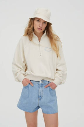 Pull & Bear Işlemeli Fermuarlı Sweatshirt