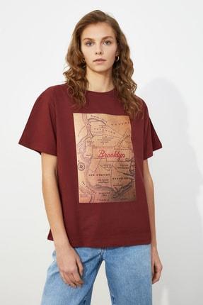 TRENDYOLMİLLA Kahverengi Boyfriend Örme T-Shirt TWOSS21TS0519