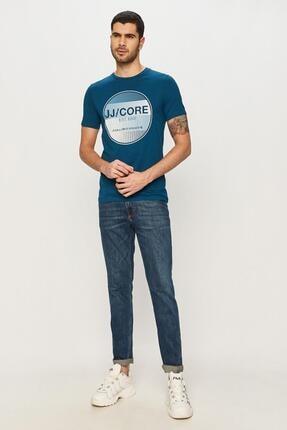 Jack & Jones Unisex Mavi  Çizgi Desen Yazılı 0 Yaka T-Shirt 12188601