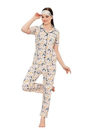 walkie Kadın Krem Funny Panda Pijama Takımı