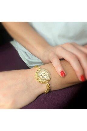 UKBA GOLD Kadın Sarı Baskı Çeyrek Bileklik