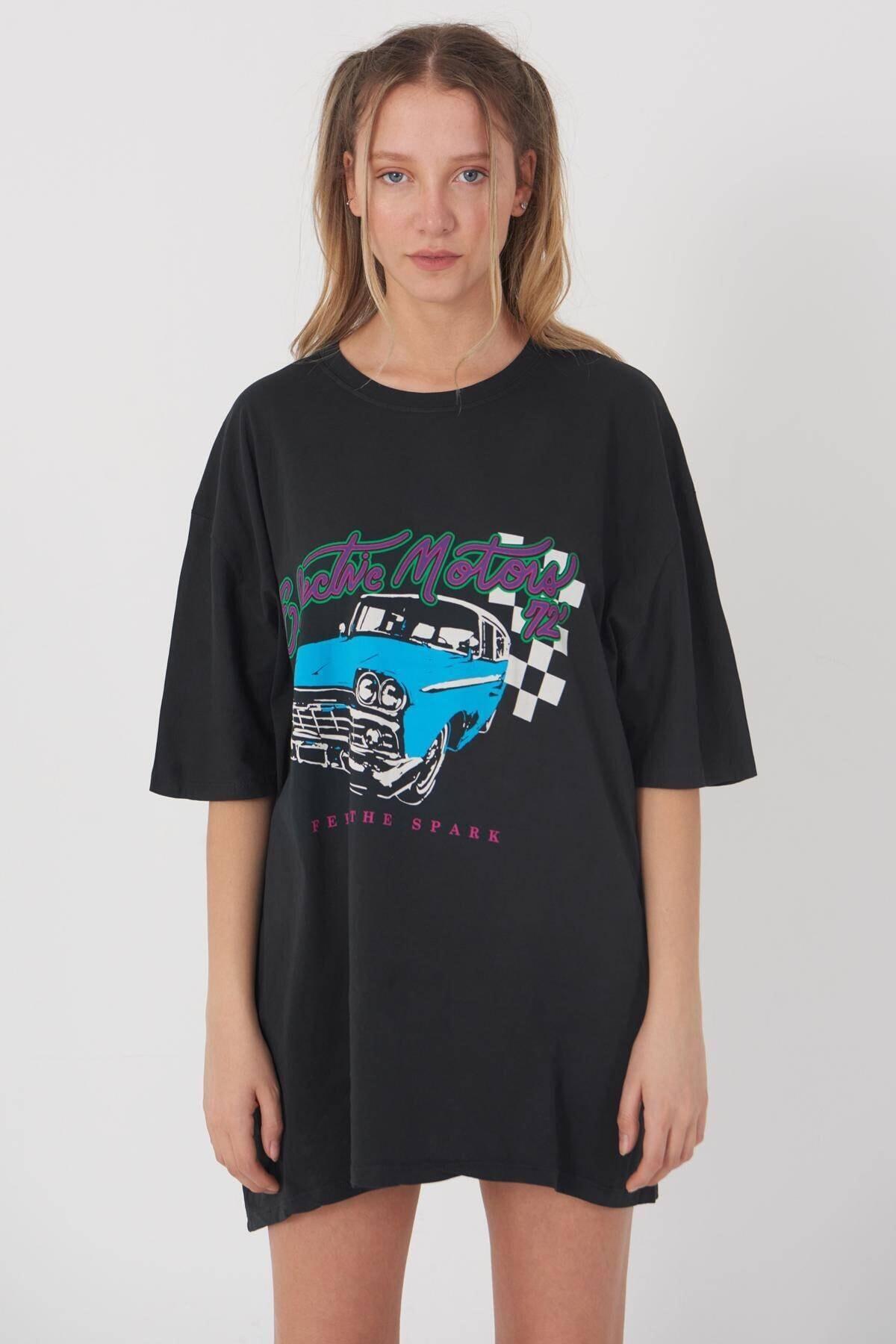 Addax Kadın Füme Oversize Baskılı T-Shirt P9344 - D5 Adx-0000020813 2