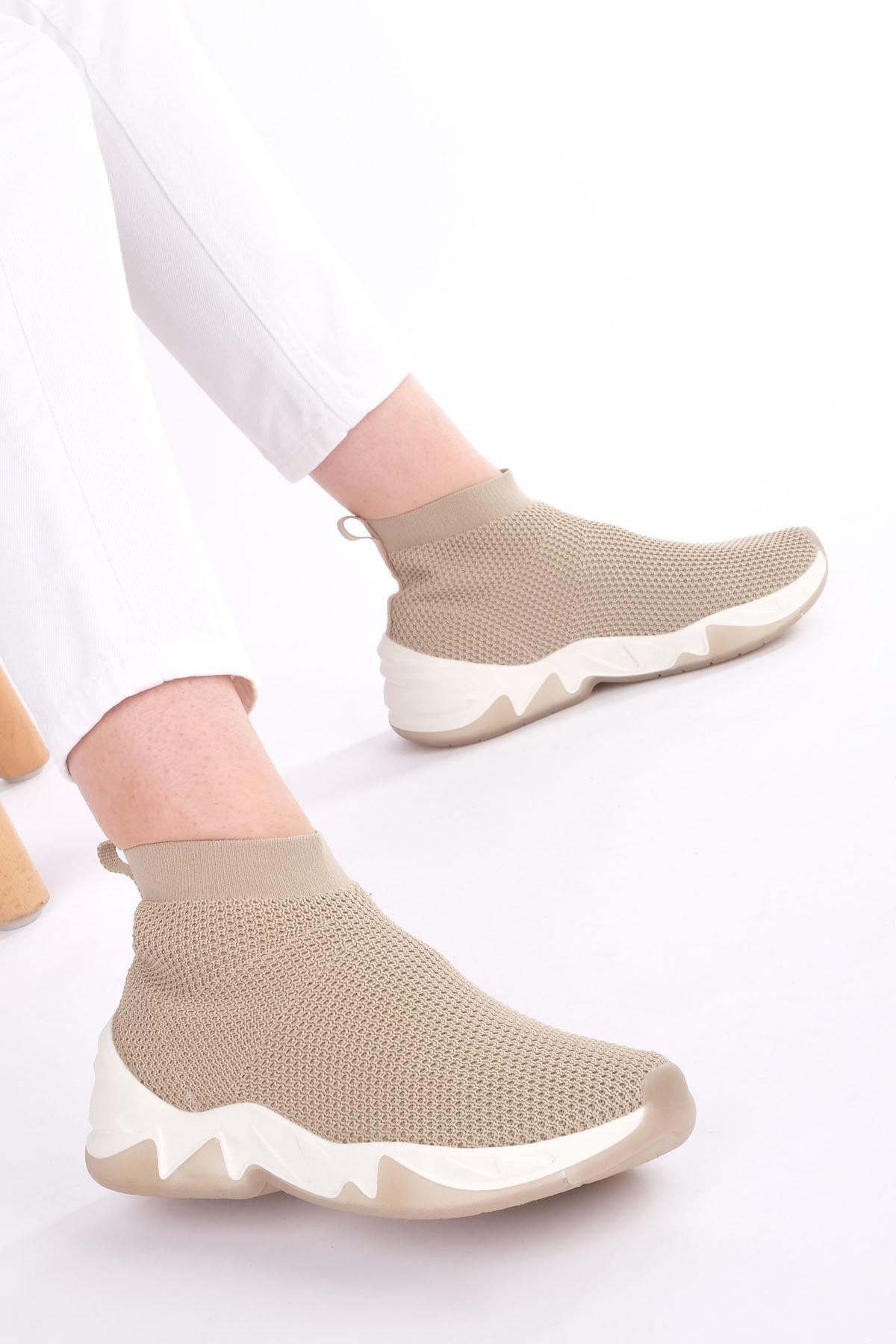 Marjin Kadın Bej Çorap Spor Bot Befita 1