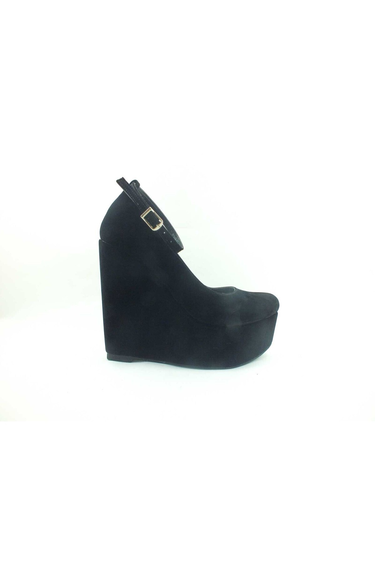 Çarıkçım Dolgu Topuklu Platform Bayan Ayakkabı - Siyah-süet - 190 1