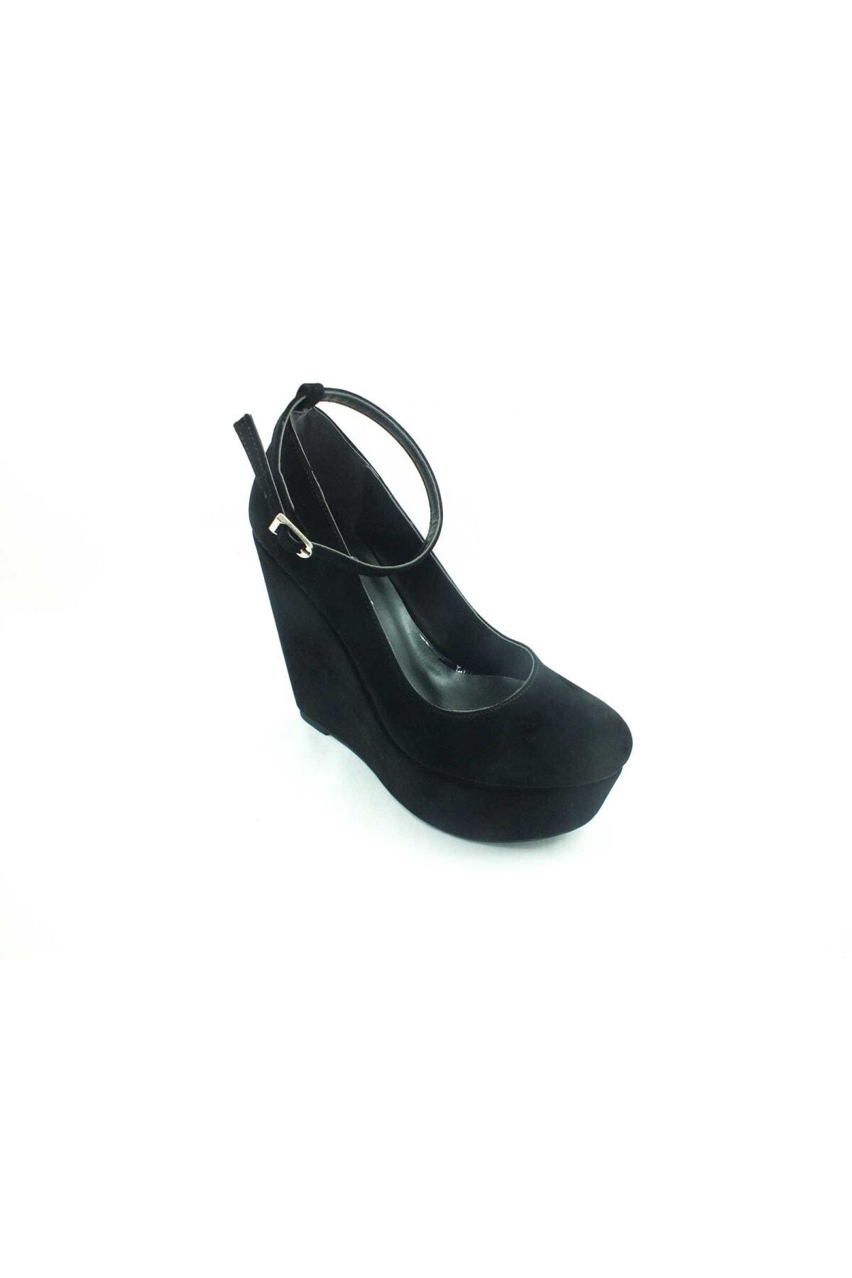 Çarıkçım Dolgu Topuklu Platform Bayan Ayakkabı - Siyah-süet - 190 2