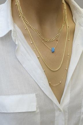 Marjin Kadın Altın Renkli Mavi Boncuklu Dörtlü Zincir Kolyealtın