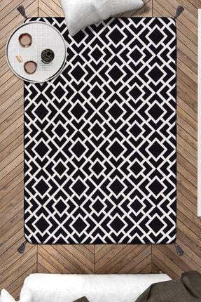 Caretta Home 120x180 Siyah Beyaz Ponponlu Kare Dokuma Kilim