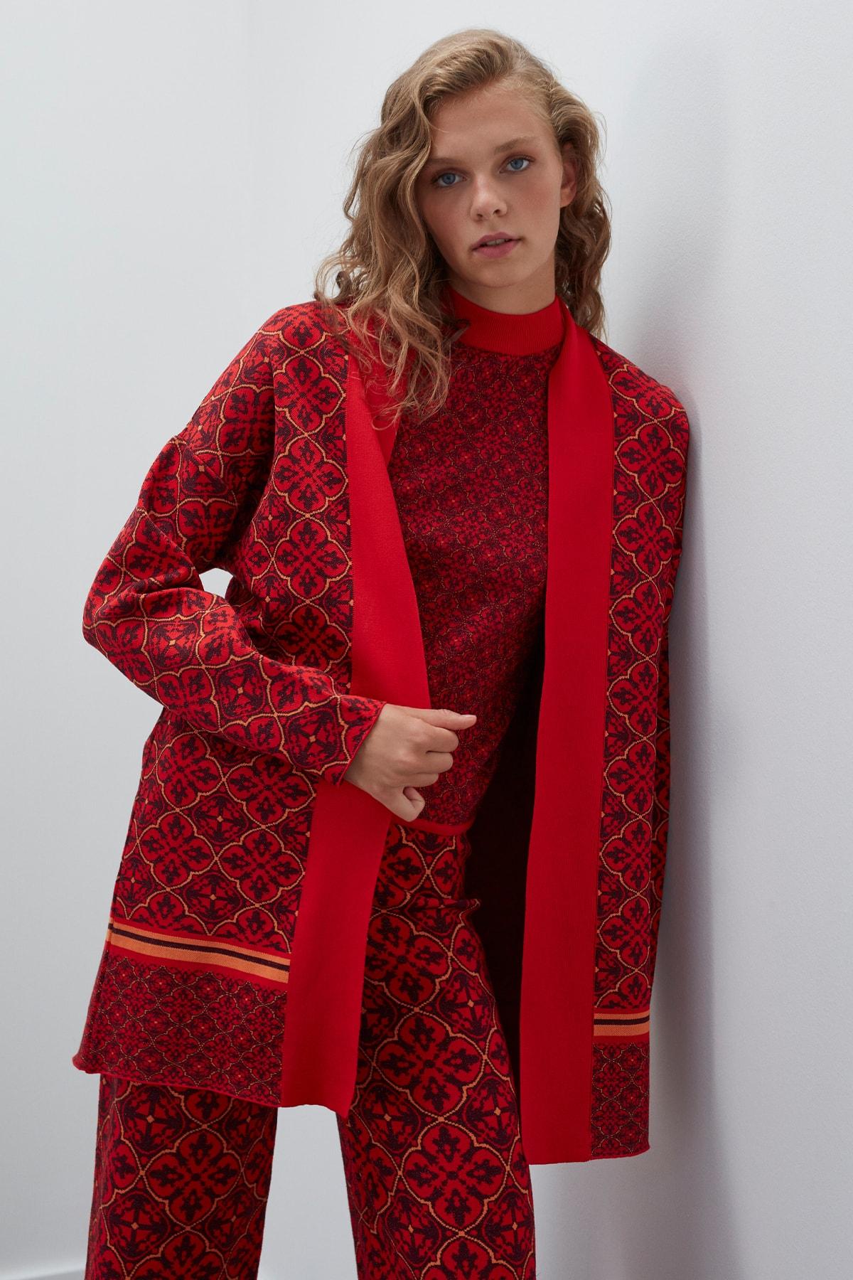 JOIN US Kadın Kırmızı Simli Desenli Triko Hırka 1