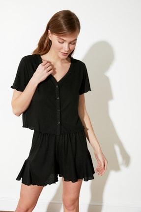TRENDYOLMİLLA Siyah Kaşkorse Örme Pijama Takımı THMSS21PT0136