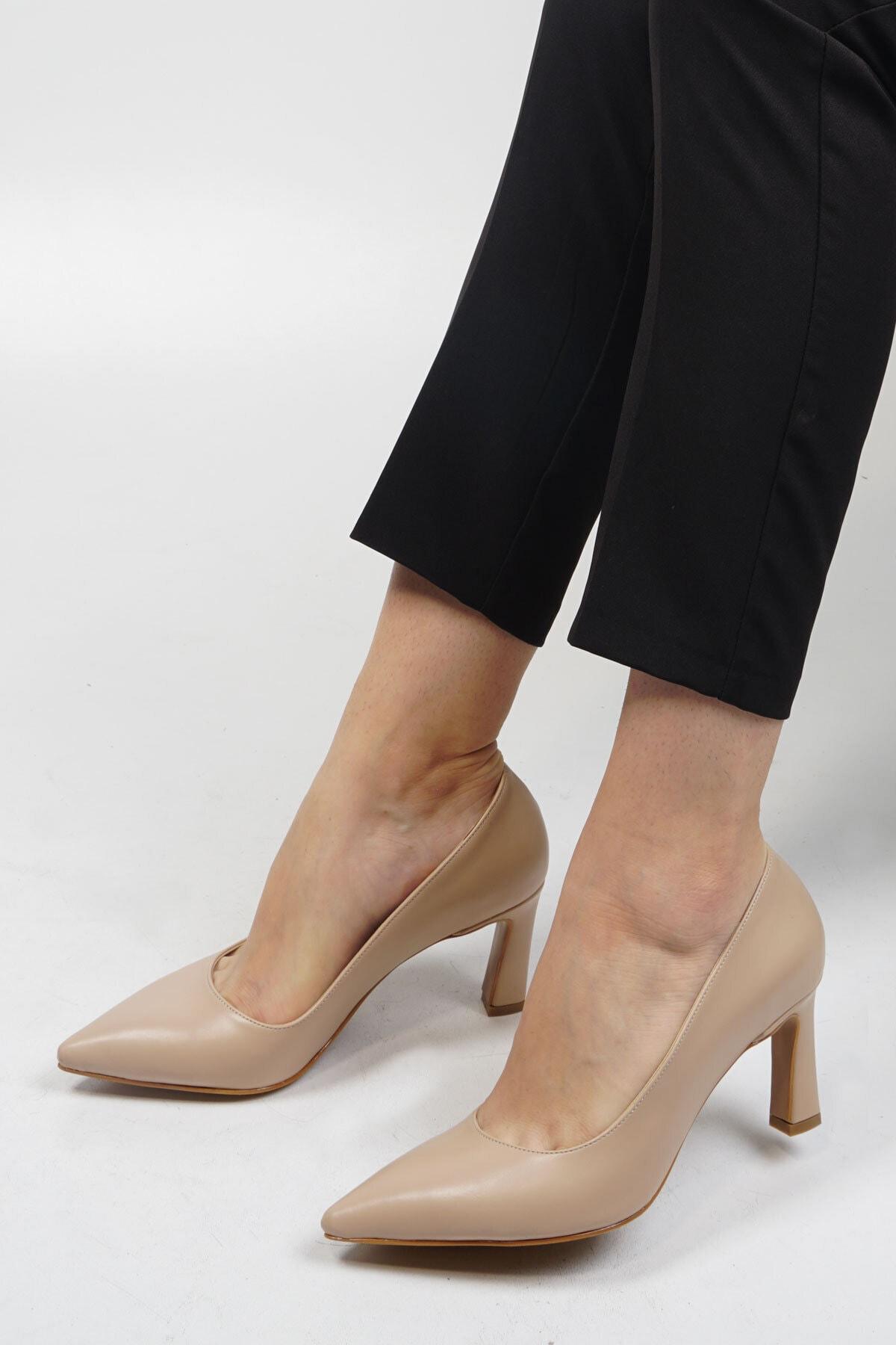 Marjin Kadın Bej Stiletto Topuklu Ayakkabı Akuna 1