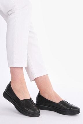 Marjin Vona Kadın Hakiki Deri Comfort Ayakkabısiyah