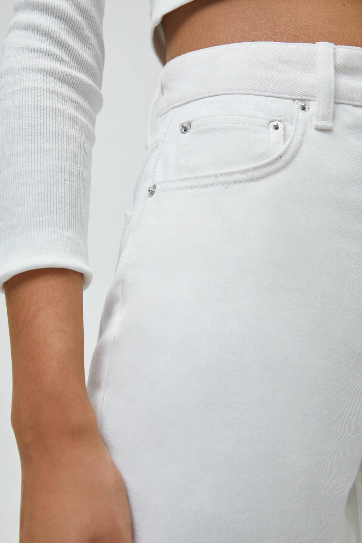 Pull & Bear Kadın Beyaz Basic Petite Culotte Jean 2