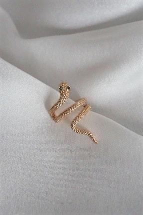 By Meriç Kadın Yılan Model Altın Kaplama Kıkırdak Küpe
