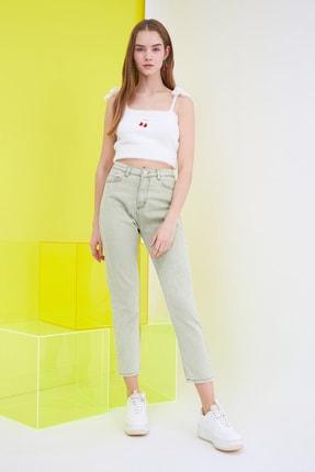 TRENDYOLMİLLA Haki Yüksek Bel Mom Jeans TWOSS21JE0172