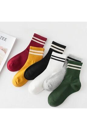 Zirve Unisex Kadın 6' Lı Karışık Renkli Çizgili Tenis Çorabı