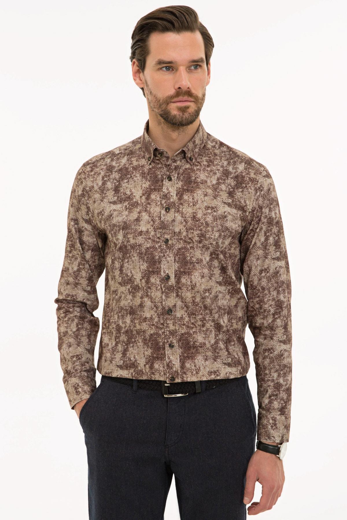 Pierre Cardin Erkek Kahverengi Slim Fit Gömlek G021SZ004.000.1109134 1