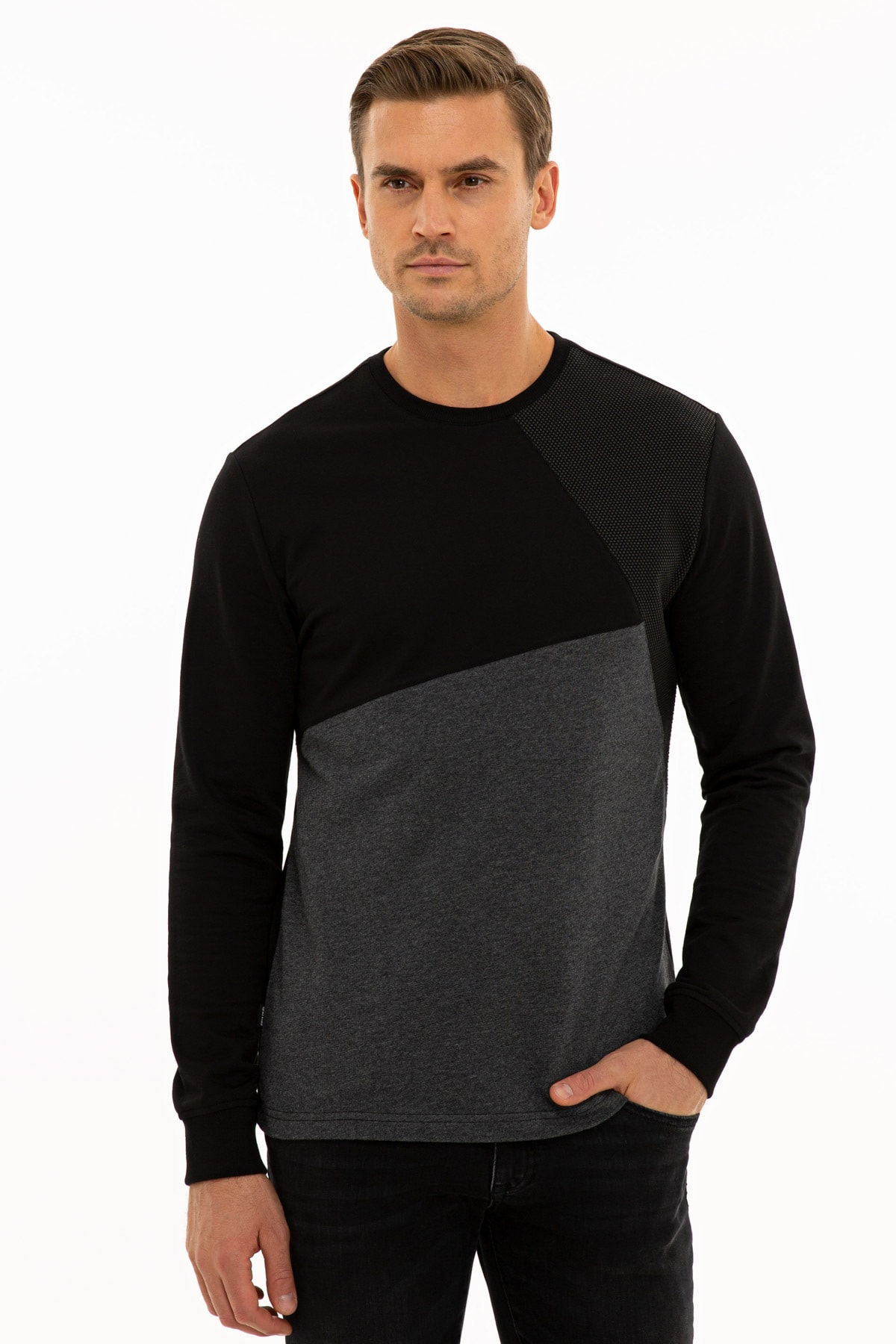 Pierre Cardin Erkek Siyah Reguar Fit Sweatshirt G021SZ082.000.1235975 1
