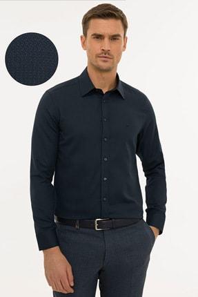 Pierre Cardin Erkek Lacivert  Slim Fit Armürlü Gömlek G021GL004.000.1214466