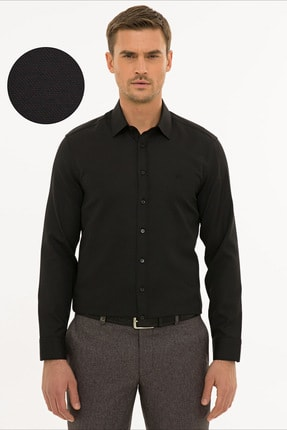 Pierre Cardin Erkek Siyah Slim Fit Oxford Gömlek G021GL004.000.1214553