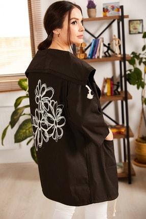 armonika Kadın Antrasit Sirti Çiçek Baskılı Mevsimlik Ceket ARM-20K024030