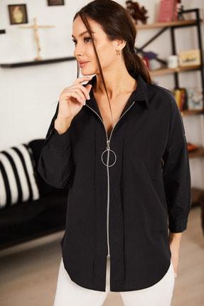 armonika Kadın Siyah Önü Fermuarlı Salaş Gömlek ARM-21K024090