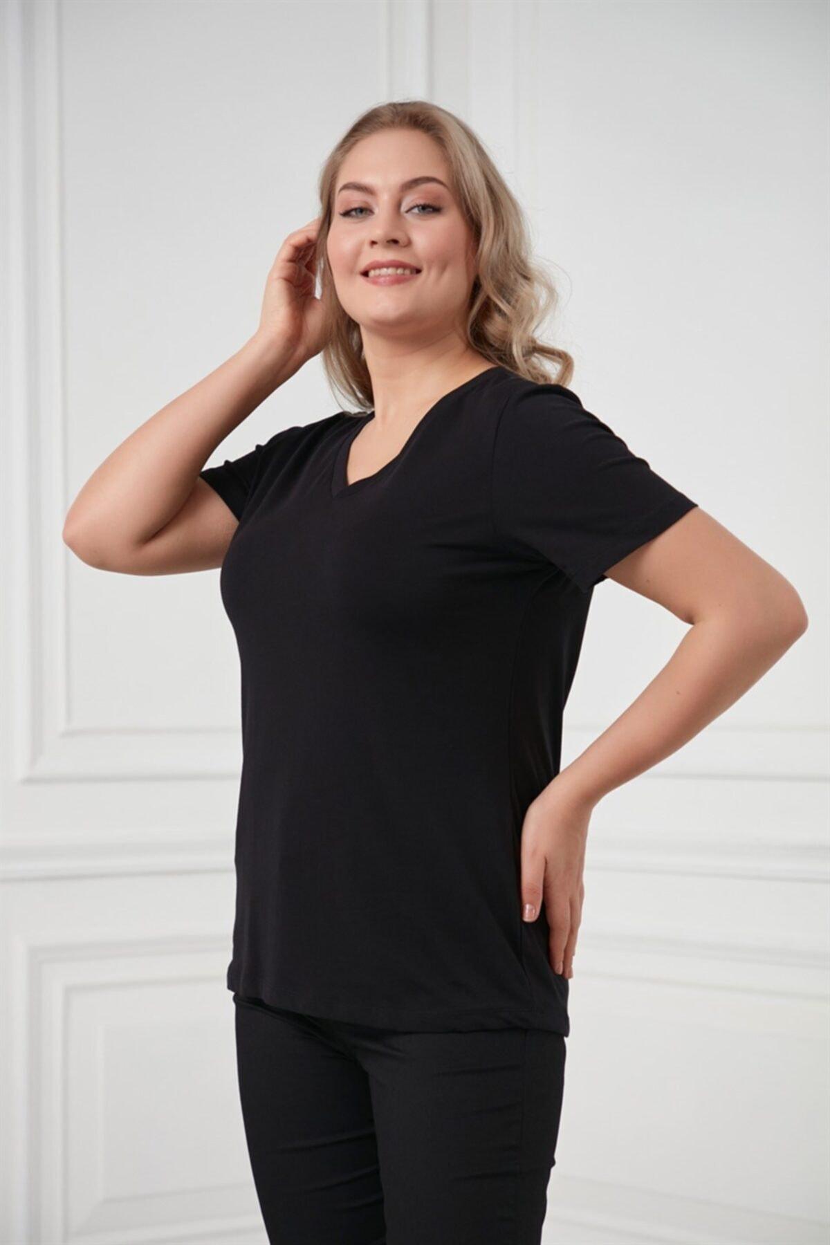 RMG V Yaka Büyük Beden Siyah Tişört 2