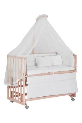 Babycom Anne Yanı Naturel Tekerlekli 60x120 Ahşap Beşik + Beyaz Uyku Seti