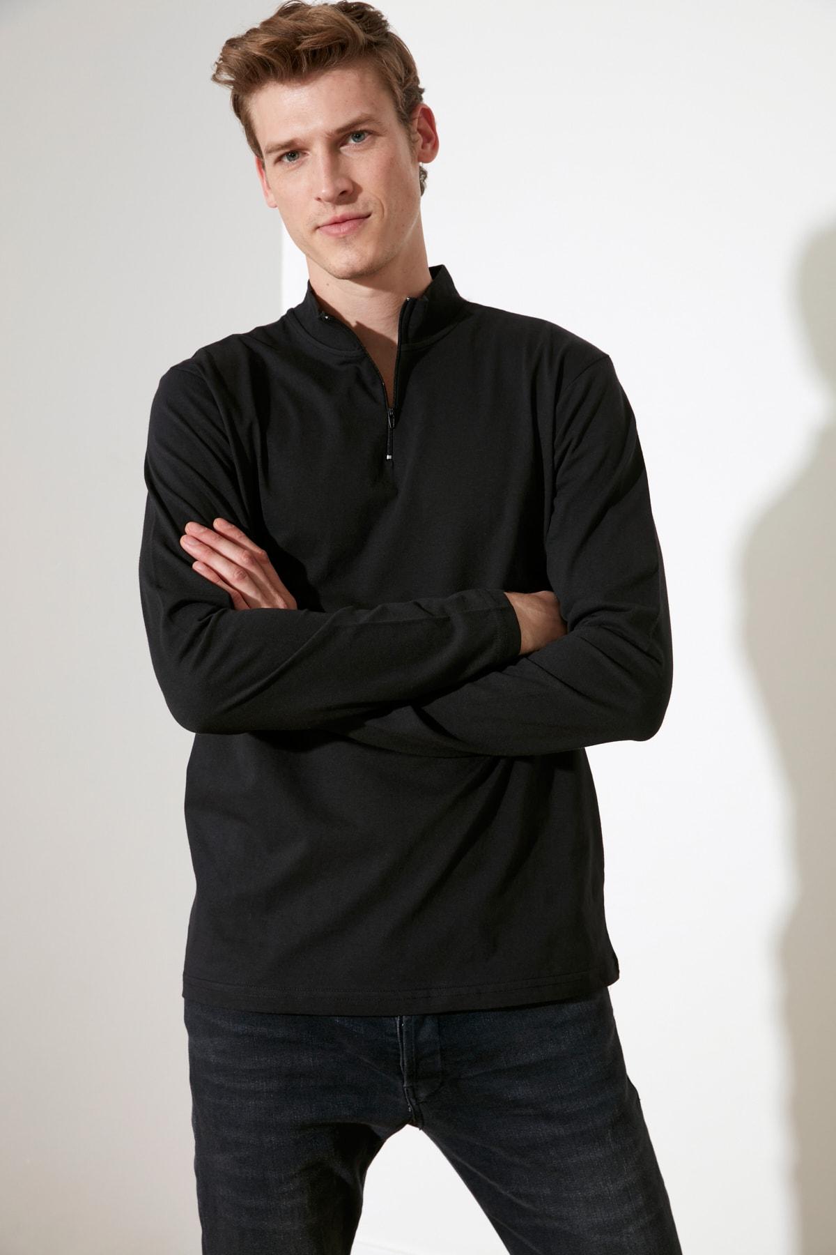 TRENDYOL MAN Siyah Erkek Uzun Kollu Slim Fit T-Shirt TMNSS20TS0017 1