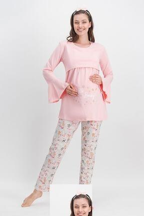 Arnetta Hello Baby İnci Pembe Kadın Lohusa Pijama Takımı