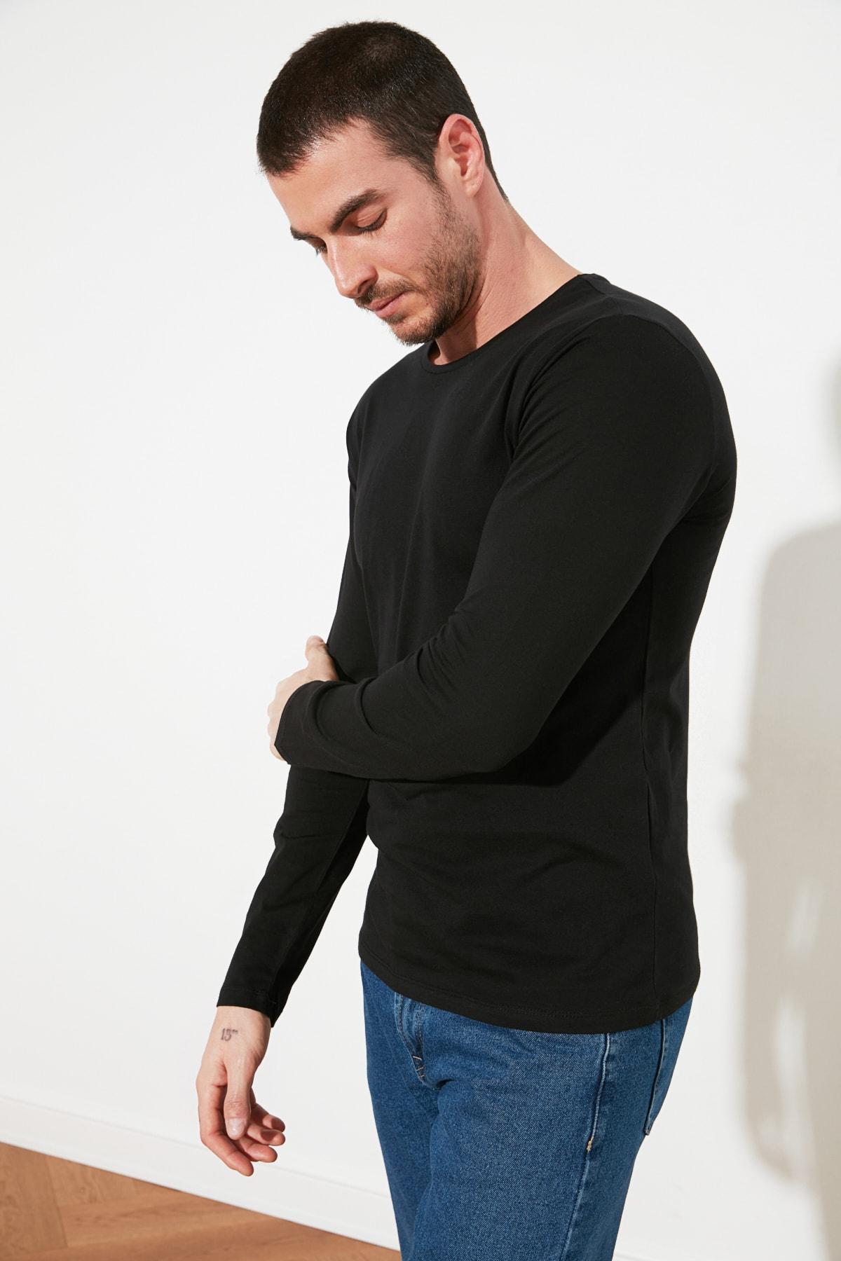 TRENDYOL MAN Siyah Erkek Regular Fit Bisiklet Yaka Uzun Kollu Basic T-Shirt TMNAW21TS0208 2
