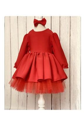 ELLUSSİ Kız Bebek Kirmizi Saten Elbise