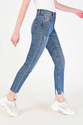 Addax Kadın Kot Rengi Paça Detaylı Slim Mom Jean Pn6095 - Pnj ADX-0000018948
