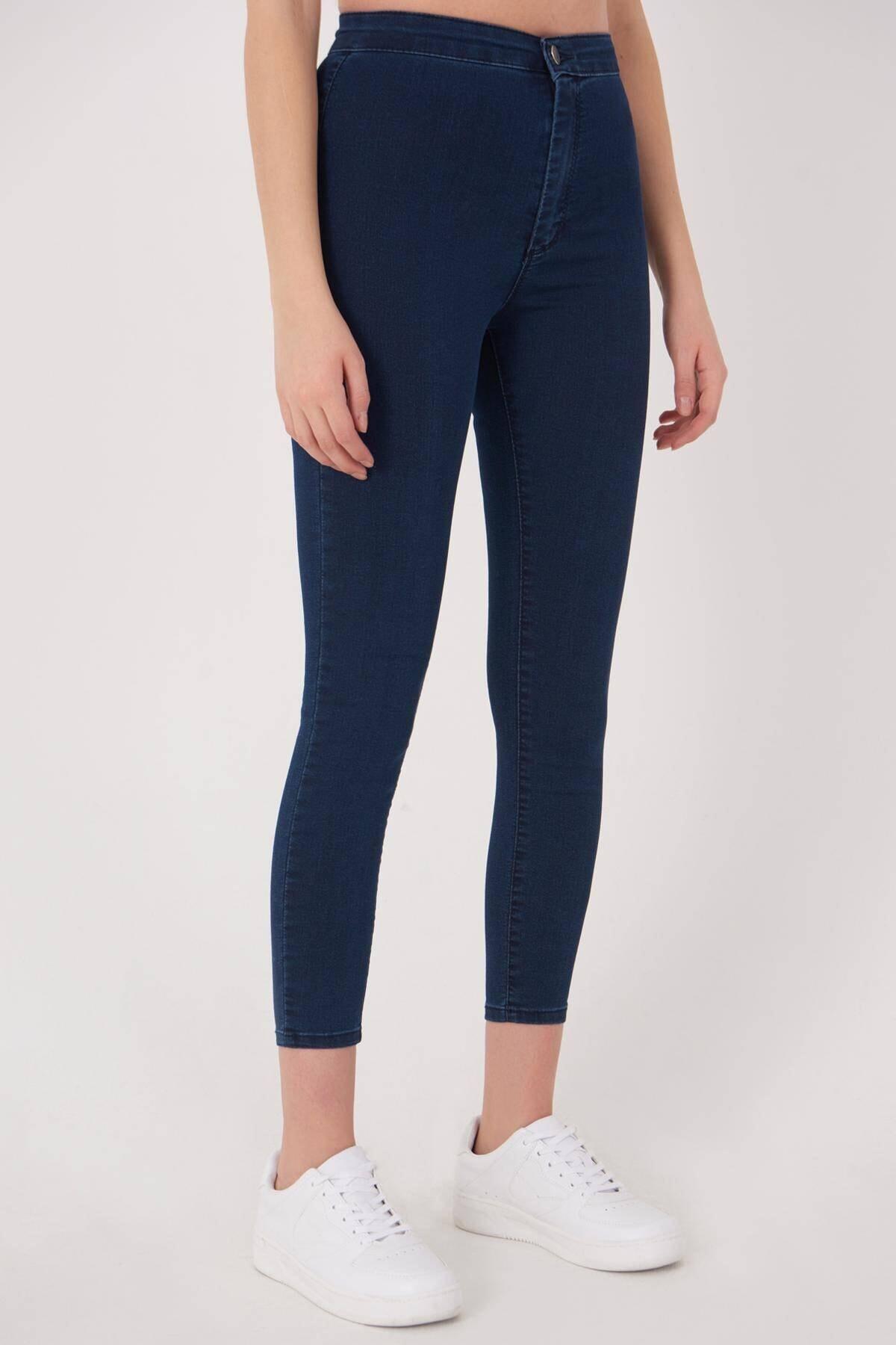 Addax Kadın Koyu Kot Rengi Yüksek Bel Pantolon Pn10915 - G8Pnn Adx-0000013630 1