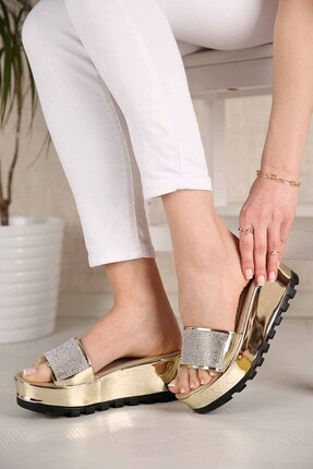 Ccway Kadın Altın Ayna Dolgu Topuklu Taşlı Terlik