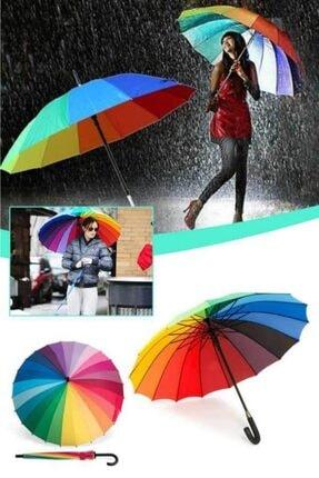 TREND Gökkuşağı Şemsiye 16 Telli Renkli Şık Ve Dekoratif