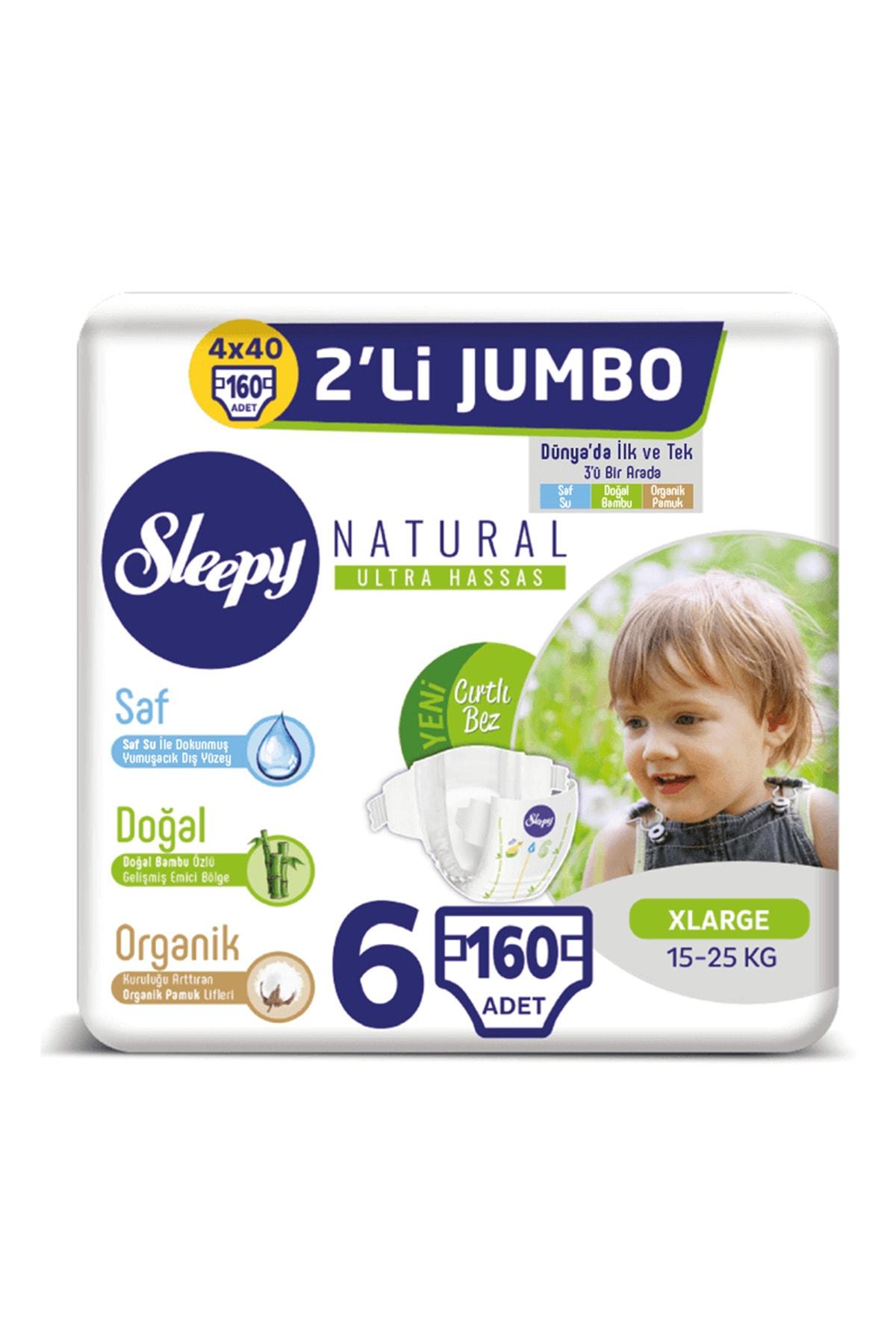 Sleepy Natural Bebek Bezi 6 Beden Xlarge 4X2'li Jumbo160 Adet 1