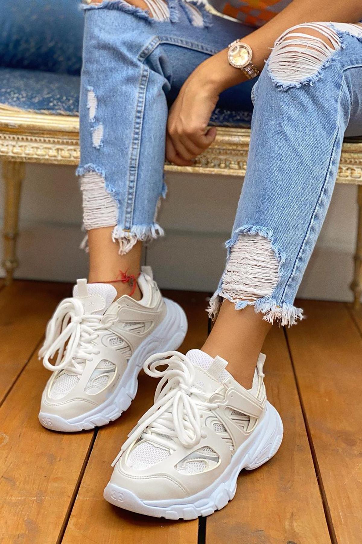 NOVELYA Unisex  Beyaz Track Yüksek Taban Sneakers Ayakkabı 1