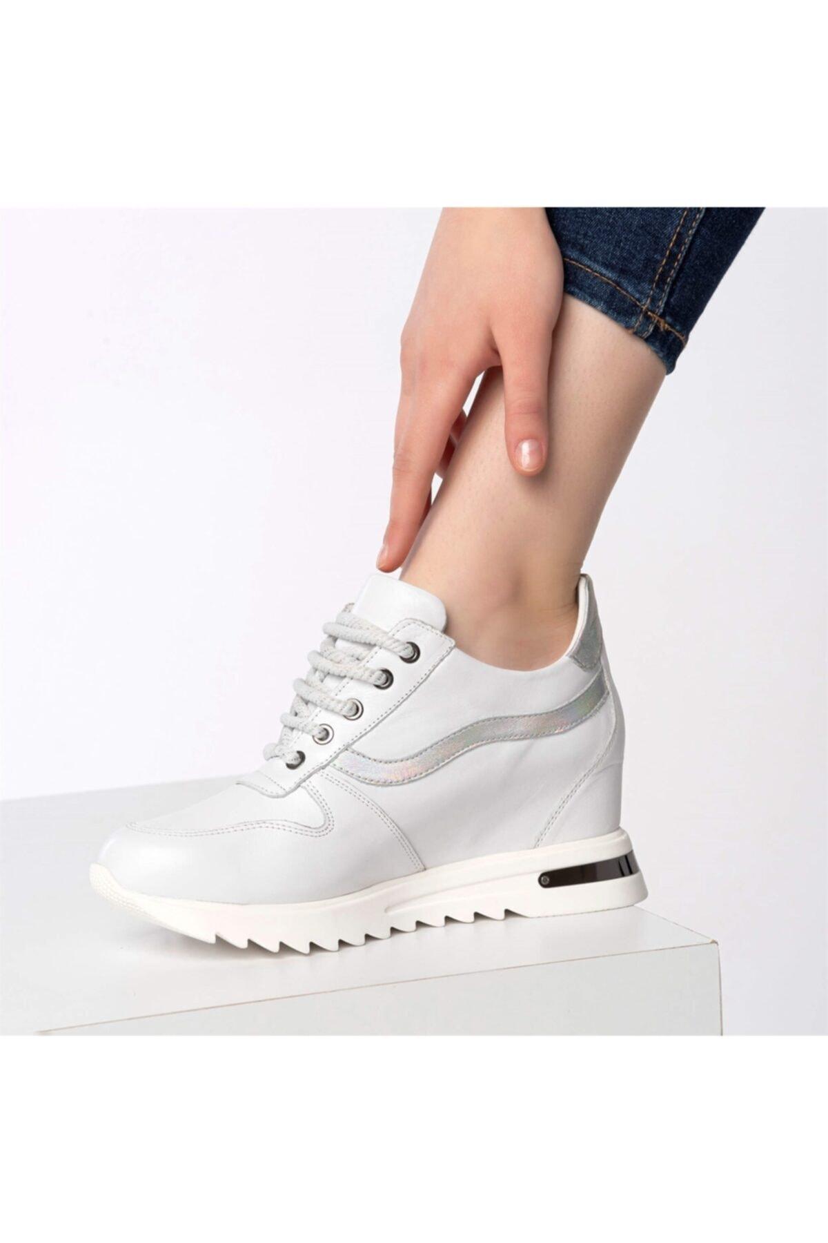 Flower Beyaz Dolgu Topuklu Spor Ayakkabı 2