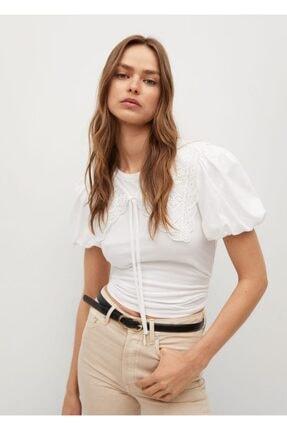 MANGO Woman Kadın Beyaz Dantelli Balon Kollu Bluz