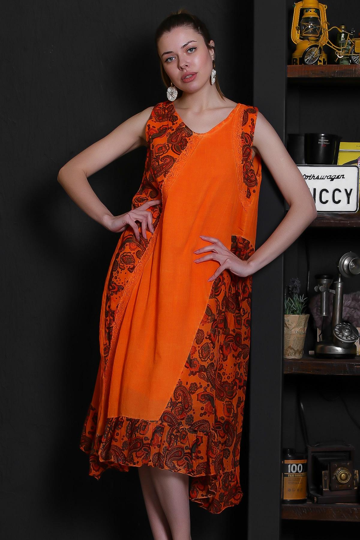 Chiccy Kadın Turuncu V Yaka Kolsuz Şal Desenli Tülbent Detaylı Kopenakili Astarlı Elbise M10160000EL95319
