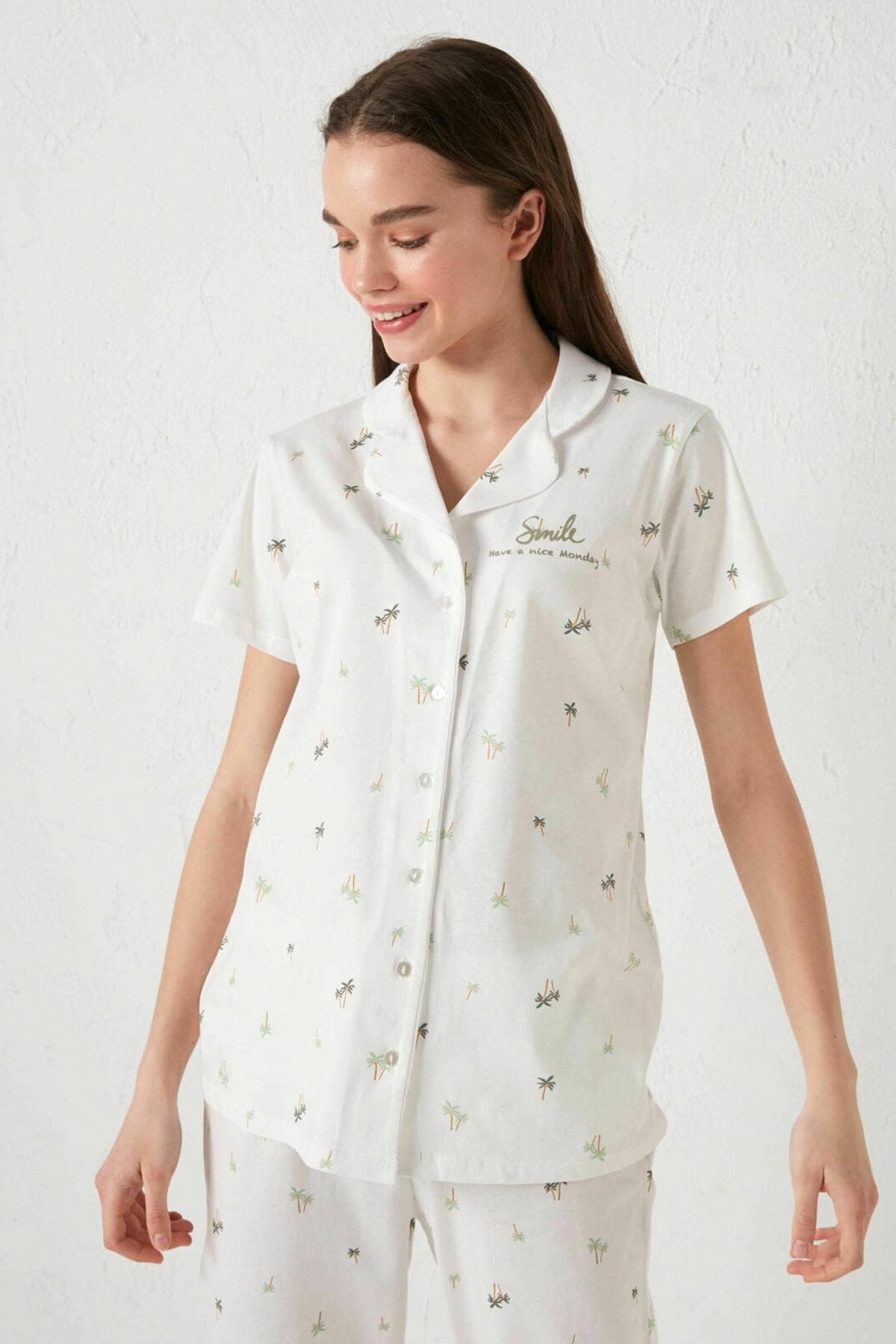 LC Waikiki Kadın Ekru Baskılı LCW DREAM Pijama Takım 1