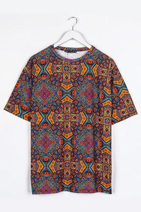 Sekizbiraltı Turuncu Etnik Dijital Baskılı Oversize Unisex Tshirt