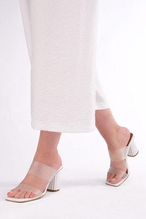 Marjin Kadın Beyaz Şeffaf Bantlı Topuklu Terlik Tires