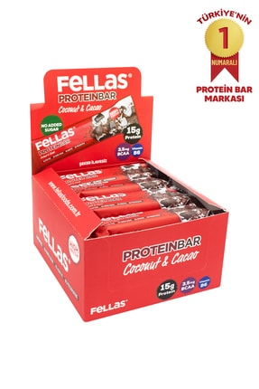 Fellas Yüksek Protein Bar - Hindistan Cevizli ve Kakaolu 45 gr x 12 Adet