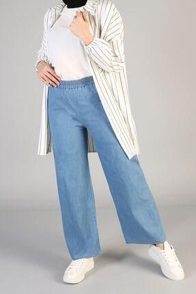 Naknaku Kadın Mavi bel Lastikli Bol Pantolon
