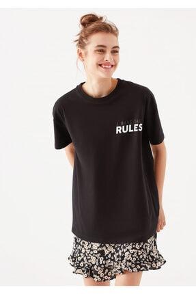 Mavi Kadın Rules Baskılı Siyah  T-Shirt