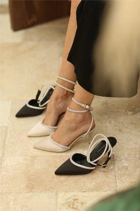 Cömert Ayakkabı Eppie Kadın Topuklu Ayakkabı Bej Saten